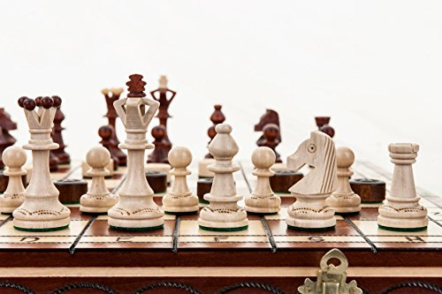 Le sénateur Massive d'échecs et de dames / contrôleurs 43x43cm ensemble en bois de hêtre -