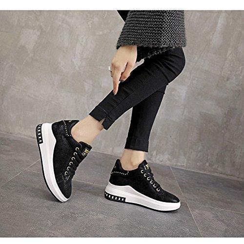 Btrada Womens Winter Sneaker Sleehak Vergroten Verborgen Duurzame Veters Met Bontvoering Klinknagel Sportschoenen Zwart Zwart