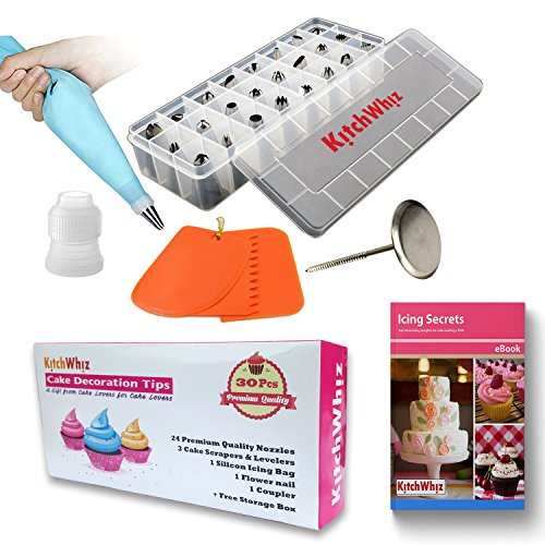 Cake Decorating Tips Set - the ONLY Cake Decorating Supplies Set with BONUS Reusable Pastry Bag - 3x Cake Leveler - Cake Flowers Nail & Storage Case. Professional Stainless Steel Cake Icing Tips (Easy Halloween Cupcake Decorating Ideas)
