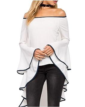 Blusa Tops Camisa Camiseta Hombro Desnudo Trompeta Mangas Largas para Banquetes Fiestas Cóctel Blanco S