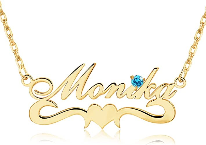 Name Necklace Personalized with Birthstone