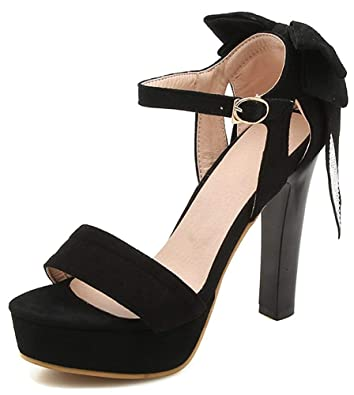 6a166c4ee981 Unm Women s Elegant Rhinestone Open Toe Chunky High Heel Buckled Platform  Ankle Strap Sandals with Bows