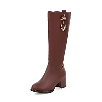 Women's Blend Materials Round Closed Toe Solid Boots