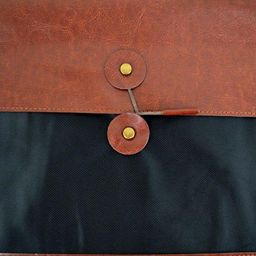Reddish Brown CLARA Vintage PU Leather A4 File Folder Portable Business Clutch Handbag Document Storage Bag Organizer Briefcase Portfolio