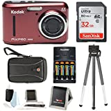 Kodak PIXPRO FZ43 (Red) + Sony 32GB SDHC + w/wallet, SwissGear Case, Charger w/2 AA Battery, Spider Tripod