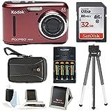Kodak PIXPRO FZ43 (Red) + Sony 32GB SDHC + w/wallet, SwissGear Case, Charger w/2 AA Battery, Spider Tripod