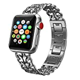 For Apple Watch Band, Patricia Pearson iWatch Band Stainless Steel Cowboy Style Bracelet iWatch Band Replacement Band for Apple Watch Series 1 / 2 / 3 (38mm-Silver)