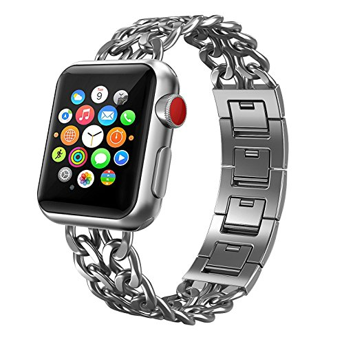 For Apple Watch Band, Patricia Pearson iWatch Band Stainless Steel Cowboy Style Bracelet iWatch Band Replacement Band for Apple Watch Series 1 / 2 / 3 (38mm-Silver) by Patricia Pearson