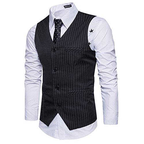 Rabattu Double Gilets Manche Gilet Costume Hommes Casual Sans Col Noir Yying À Rayures Affaires 0nfYxBBUq