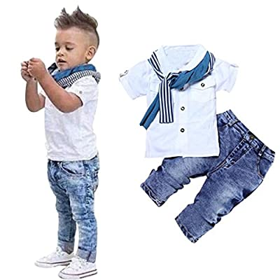 1Set Toddler Kids Baby Boys Short Sleeve T-Shirt Tops+Scarf+Trousers by FEITONG that we recomend individually.