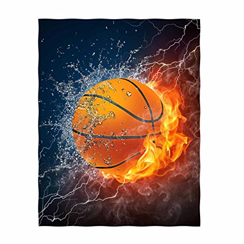 QH Basketball Print Throw Blanket Comfort Design Home Decoration Fleece Blanket Perfect for Couch Sofa or Travelling 58