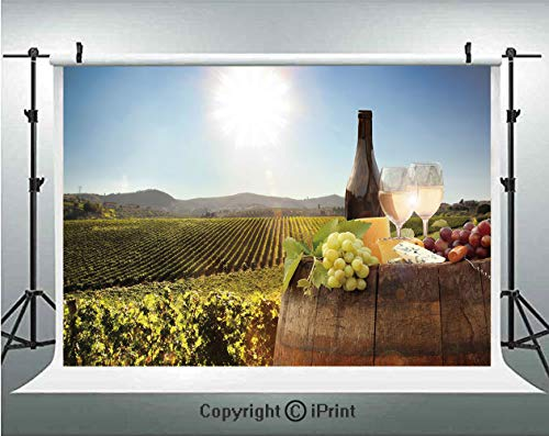 Wine Photography Backdrops White Wine with Barrel on Famous Vineyard in Chianti Tuscany Agriculture Decorative,Birthday Party Background Customized Microfiber Photo Studio Props,7x5ft,Green Brown Ligh