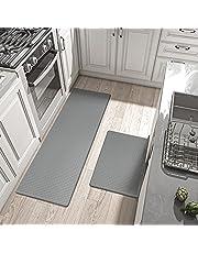 """DEXI 2Piece Kitchen Rug Comfort Heavy Duty Standing Mat, Low Elastic Kitchen Rugs, Waterproof Non Slip Kitchen Floor Mats,17""""x29""""+17""""x59"""",Grey"""