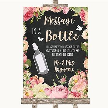 Cartel de boda con diseño de pizarra rosa y rosas en una ...
