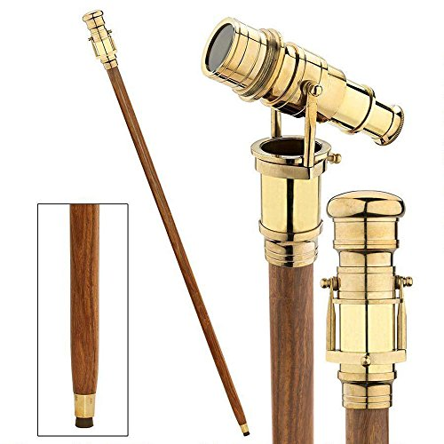 Sun & Moon Vintage Brass Handle Victorian Telescope Head Foldable Wooden Walking Stick Cane (Brass Finish) -