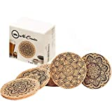 Mr Coaster Cork Coasters for Drinks Absorbent Set of 12 pcs - Stained Glass Coaster Easy to Put Together On Desk Protect Your Table from a Liquid Ring and Scratches Classical Mandala Designs