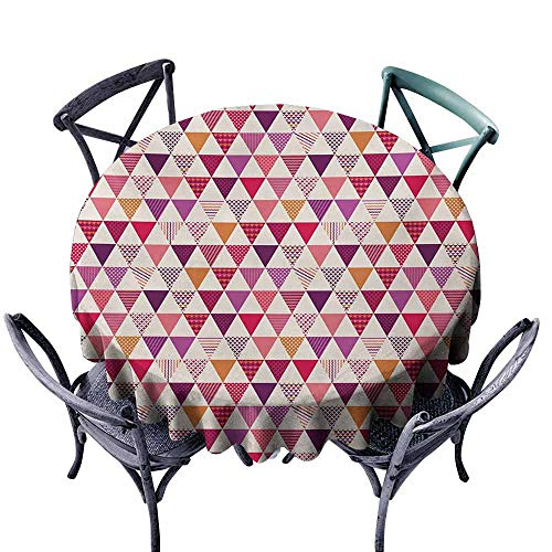VIVIDX Water Table Cloth,Pink,Geometric Triangle Patterns with Polka Dots Lines Zig Zag Prints Abstract Image Print,Table Cover for Home Restaurant,67 INCH,Multicolor