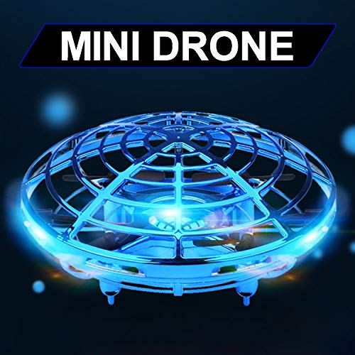 Light Up Flying Toys,Mini Drone Helicopter Glow In The Dark Halloween Party Favor Supplies for Kids,360 Rotating Hand Operated Drone LED Lights Indoor Outdoor Prime Holiday Birthday Gifts【Blue】
