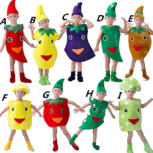 Halloween Kids Girls Boys Vegetables Cosplay Costume Dress Up Suit Children Xmas Role Play (110cm, (Tomato Suit)