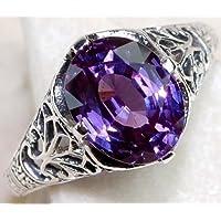 Aisamaisara Chic 925 Silver Sterling Amethyst Color Changing Alexandrite Filigree Ring Hot (8)