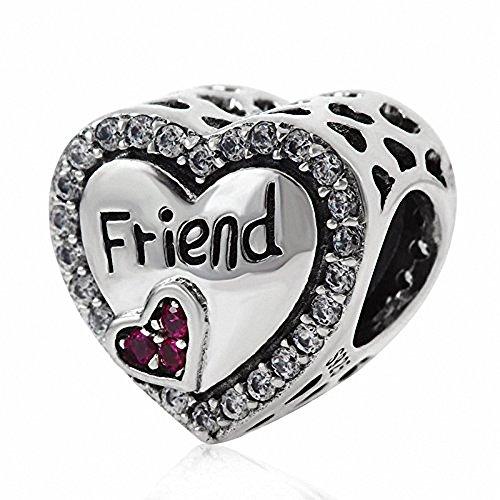 ABUN Love Family Charms Original 925 Sterling Silver Heart Charm for European Chain Bracelet (Friend)