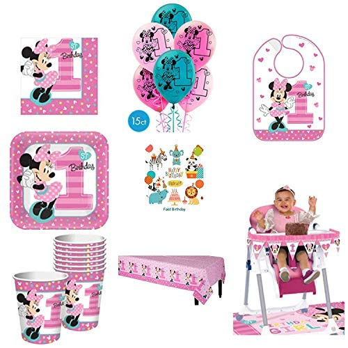 1st Birthday Minnie Mouse Party Supplies Pack Including Plates, Cups, Napkins, Table Cover, High Chair Kit, Bib and Balloons for 16 Guests Minnie Fun to be One! ()