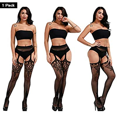 DRESHOW 6 Pack Fishnet Stockings for Women Hight Waist Tights Thigh High Pantyhose at Women's Clothing store