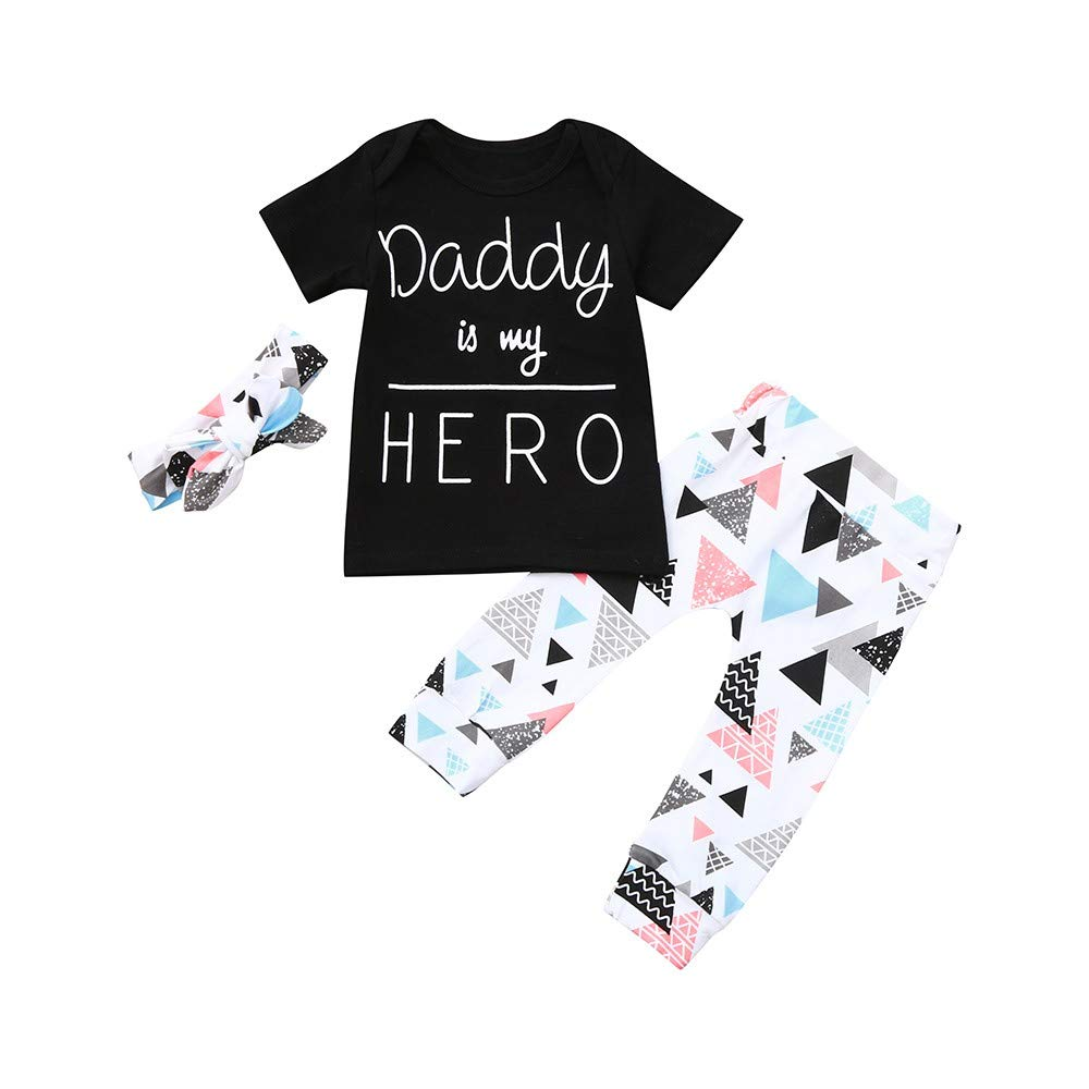 NUWFOR Infant Kids Baby Girl Boy Letter Print T-Shirt+Geometric Pants Outfits Clothes(Black,3-6Months