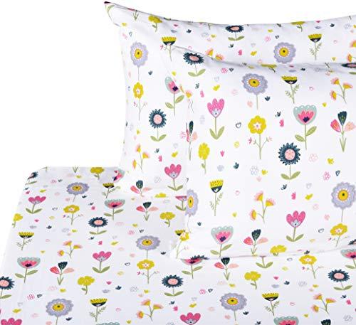 J-pinno Girls Flower 100% Muslin Cotton Bed Sheet Set Full, Flat Sheet & Fitted Sheet & Pillowcase Natural Hypoallergenic Bedding Set (24, Full)