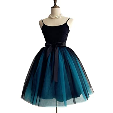 dfc16e82aa1e Omelas Vintage A-Line Bowknot Tutu Tulle Skirts Color Combine Dress for  Party Prom Black