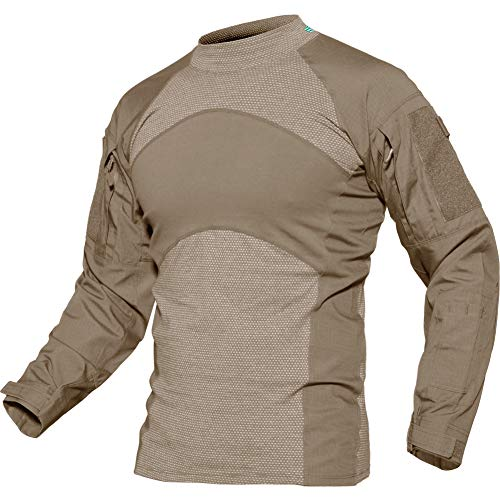 TACVASEN Men's Combat Shirt Tactical Ripstop Assault Military Top Camo Slim Fit Khaki,US S/Tag L (Swat Vest Paintball)