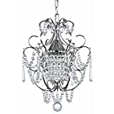 Crystal Mini-Chandelier Pendant Light in Chrome Finish For Sale