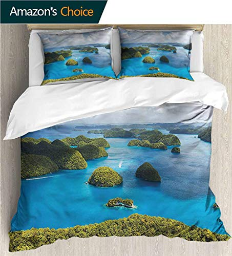 Kids Quilt 3 Piece Bedding Set,Box Stitched,Soft,Breathable,Hypoallergenic,Fade Resistant With Sham And Decorative 2 Pillows,Full Queen-Island Palau Region Touristic Scene (80