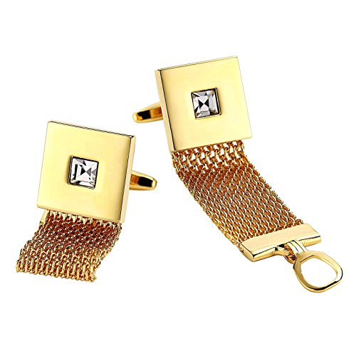 Aooaz Cufflinks for Men Stainless Steel Mesh Wrap Square Cz Pierced Gold Accessories 1.7X1.7CM