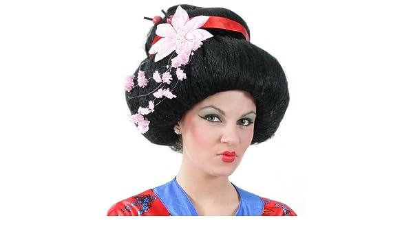 Fritz Fries & Söhne GmbH & Co. KG Geisha peluca con flores: Amazon ...