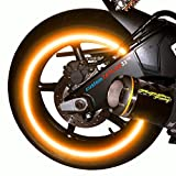 """customTAYLOR33 (All Vehicles) Orange High Intensity Grade Reflective Copyrighted Safety Rim Tapes (Must select your rim size), 17"""" (Rim Size for Most Sportbikes)"""