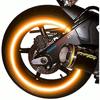 """customTAYLOR33 (All Vehicles) Orange High Intensity Grade Reflective Copyrighted Safety Rim Tapes (Must select your rim size), 17"""" (Rim Size for Most SportsBikes)"""