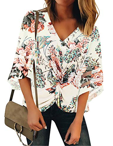 luvamia Women's Casual V Neck Blouse 3/4 Bell Sleeve Mesh Panel Shirts Twist Front Tops Blouses Y Twist Ivory Floral Printed Size XL