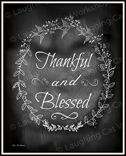 Rustic Country Chalkboard Style Print Thanks Thankful Blessing Family Home wall decor