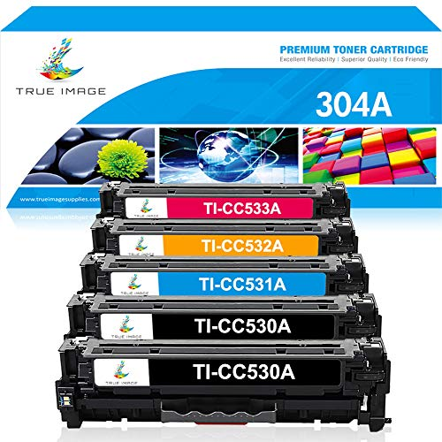 TRUE IMAGE Compatible Toner Cartridge Replacement for HP CC530A CE410X HP Color Laserjet CP2025 CP2025N CP2025DN CM2320 CM2320N MFP CM2320NF MFP CM2320FXI MFP 5Pack (2 Black,1 Cyan,1 Magenta,1 Yellow)