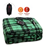 Zone Tech Car Heated Travel Blanket - Green Plaid Premium Quality 12V Automotive Comfortable Heating Car Seat Blanket Great for Summer