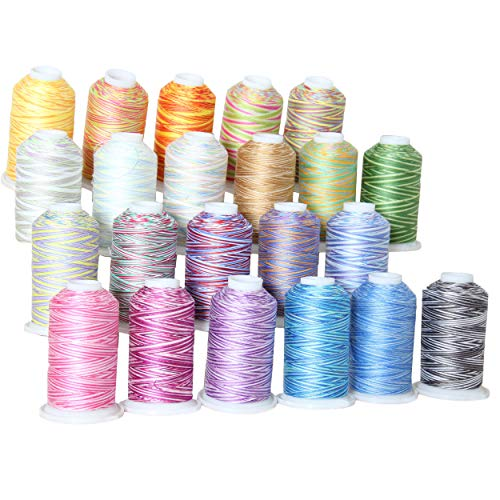 (Threadart 100% Cotton Variegated Thread Set | 22 Colors | 600M (660 Yards) Cones | For Quilting & Sewing 40/3 Weight | Long Staple & Low Lint | Over 20 Other Sets Available)