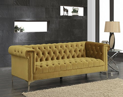 Iconic Home FSA2612-AN Gold/COGNAC Gold Bea Velvet with Nail head Trim Tone Metal Sofa Review