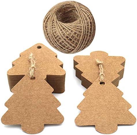 Weihnachten tags, 100 stück Weihnachtsbaum Geschenkanhänger Kraftpapier Etiketten, 6 CM*5.8 CM Braune Geschenkanhänger mit 30 M Jute-Schnur