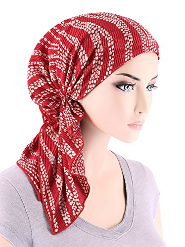 Scarf Tied Fashion (The Bella Scarf Chemo Turban Head Scarves Pre-Tied Bandana for Cancer Plisse Red Polka Swirl)