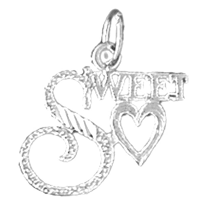 Jewels Obsession Saying Necklace Rhodium-plated 925 Silver Sweetheart Saying Pendant with 16 Necklace