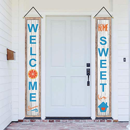 - AVOIN Welcome Summer Hanging Banner Flag Home Sweet Home, Seasonal Decoration Porch Sign for Yard Indoor Outdoor Party 12 x 72 Inch