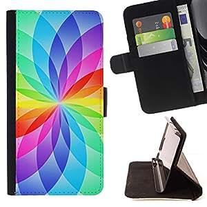 For Samsung Galaxy Note 5 5th N9200 Case , Floral blanca del arco iris Colores vibrantes- la tarjeta de Crédito Slots PU Funda de cuero Monedero caso cubierta de piel