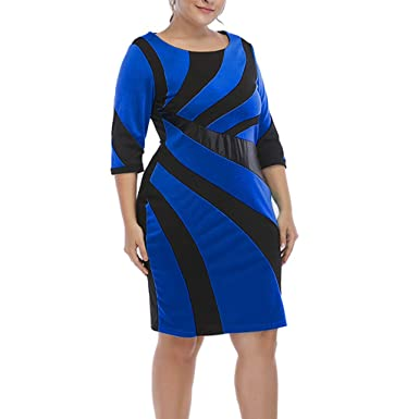BOLUOYI Plus Size Fashion Women O-Neck Pachwork Casual Three Quarter ...