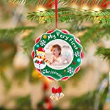 Unomor 2018 My Very First Christmas Ornament Baby's First Picture Frame